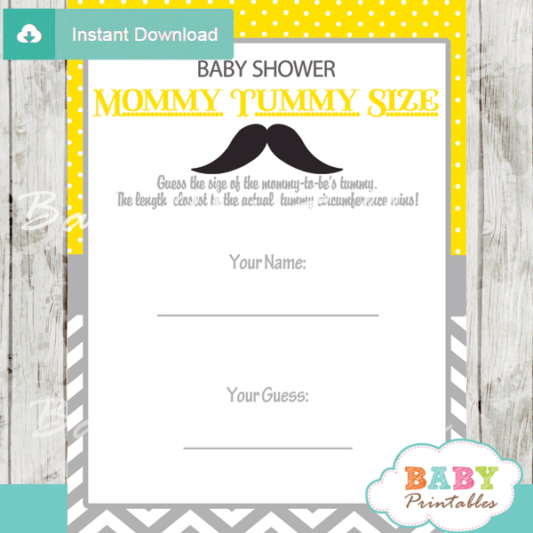 mustache Baby Shower Game Guess the Mommy's Tummy Size printable