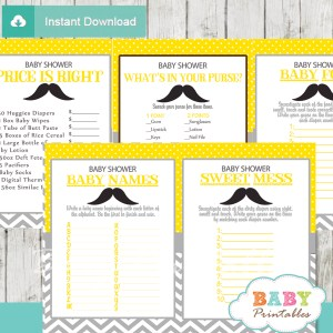 printable yellow gray mustache baby shower games package
