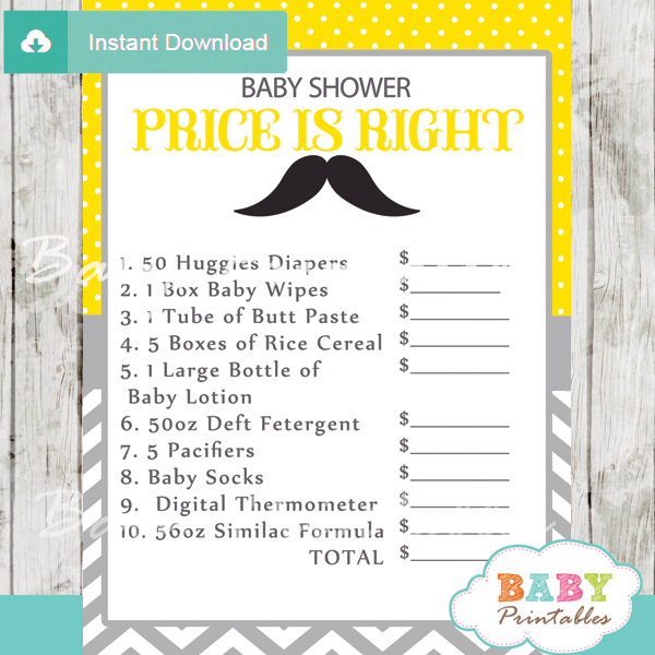 mustache Price is Right Baby Shower Game printable pdf