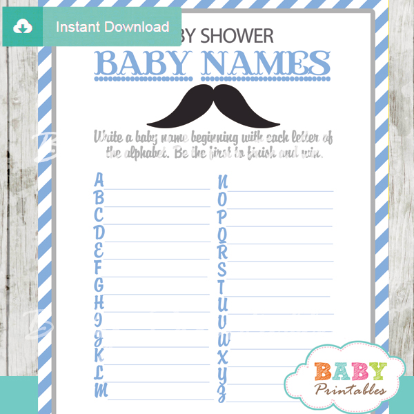 printable Baby Name Race Baby Shower Game