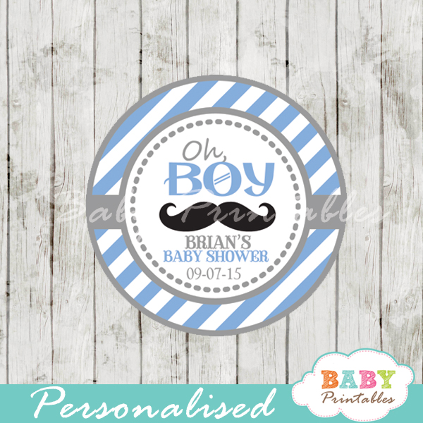 blue printable personalized Mustache Baby Shower Favor tags