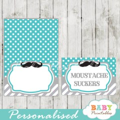 turquoise printable mustache food labels