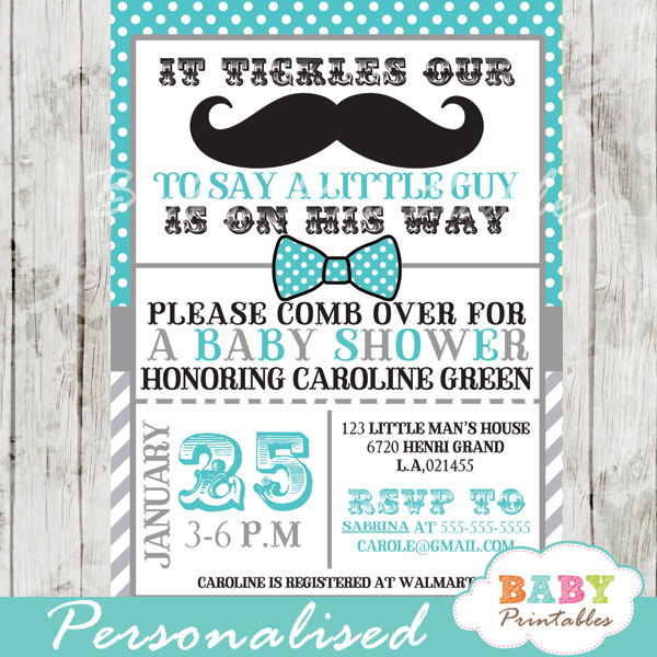 printable turquoise grey baby shower theme invitation