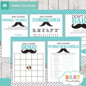 turquoise grey printable mustache baby shower fun games ideas