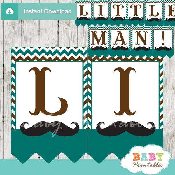 printable mustache little man banner blue brown