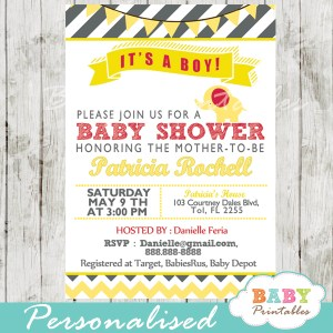 yellow red elephant baby shower ideas