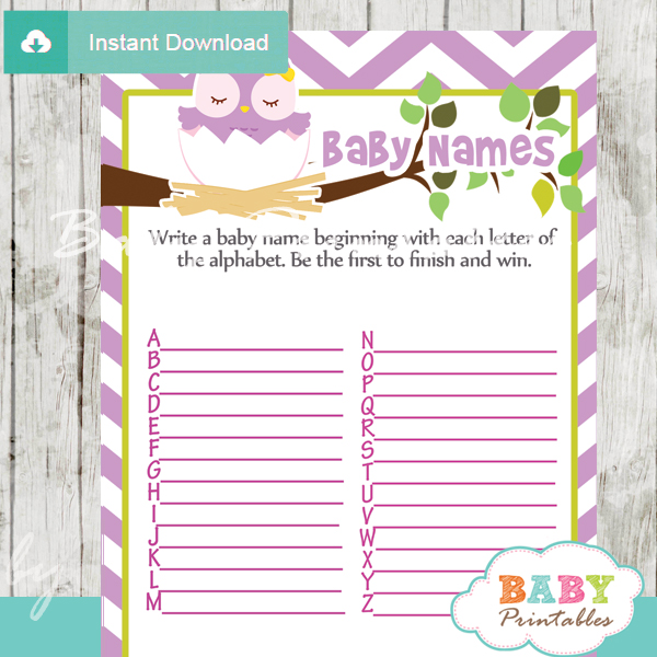 owl printable Baby Name Race Baby Shower Game