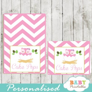 chevron pink owl printable food label cards for baby shower