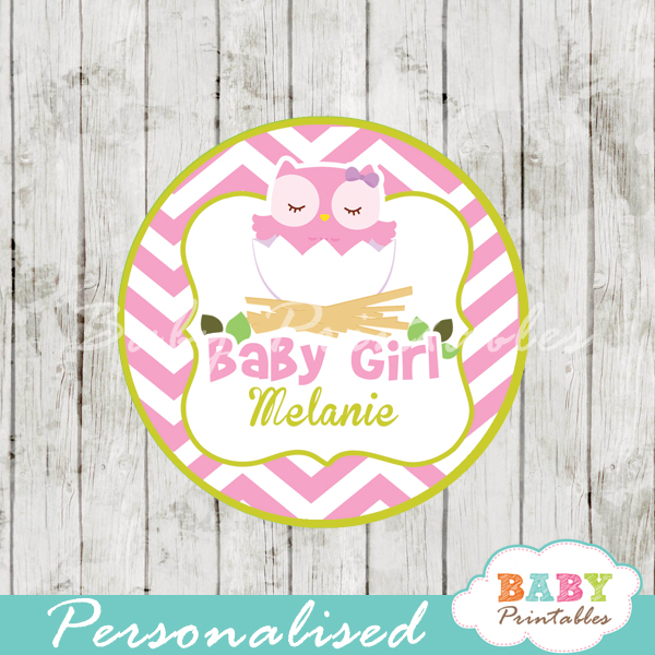 printable pink owl custom baby shower gift tags