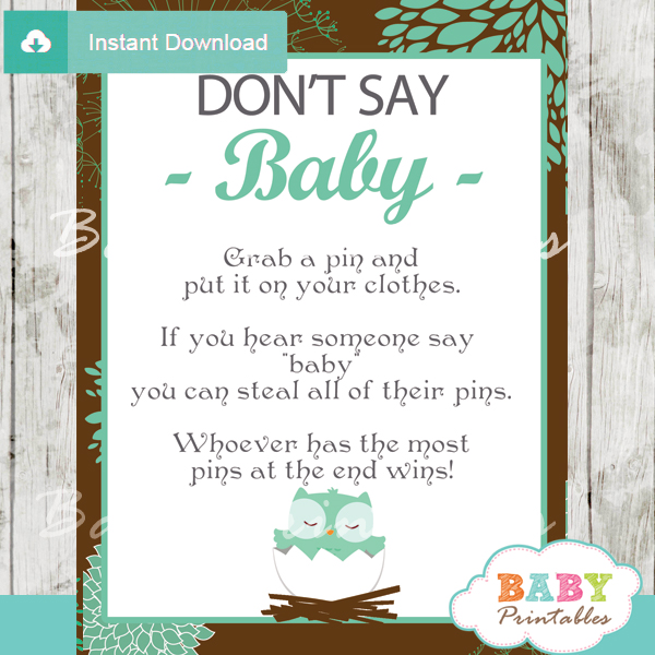 Printable owl Dont Say Baby Game pdf