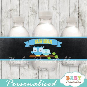 baby boy blue owl personalized printable Water Bottle wraps