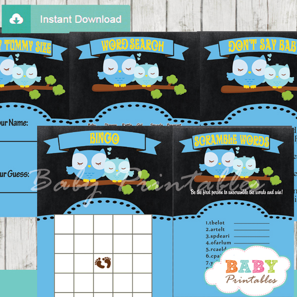 printable blue chalkboard owl baby shower games package