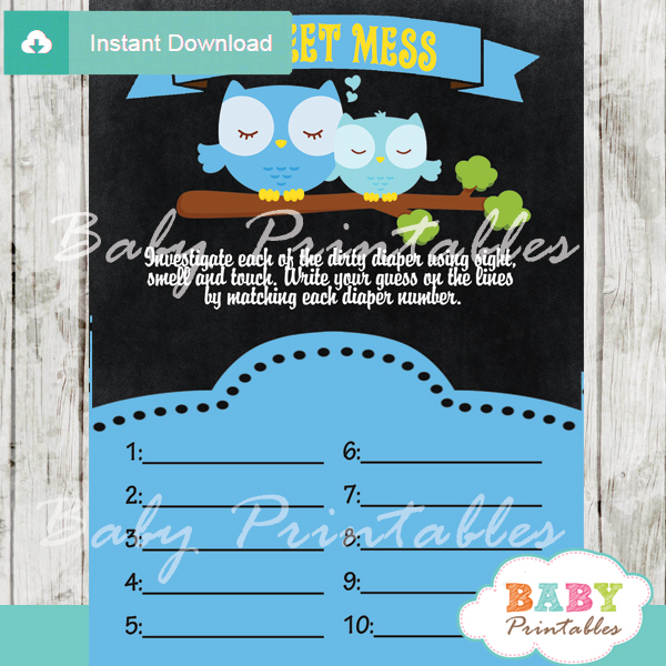 owl Baby Shower Game What's That Sweet Mess Dirty Diaper Shower Game