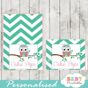 pink and mint green owl printable food label cards for baby shower