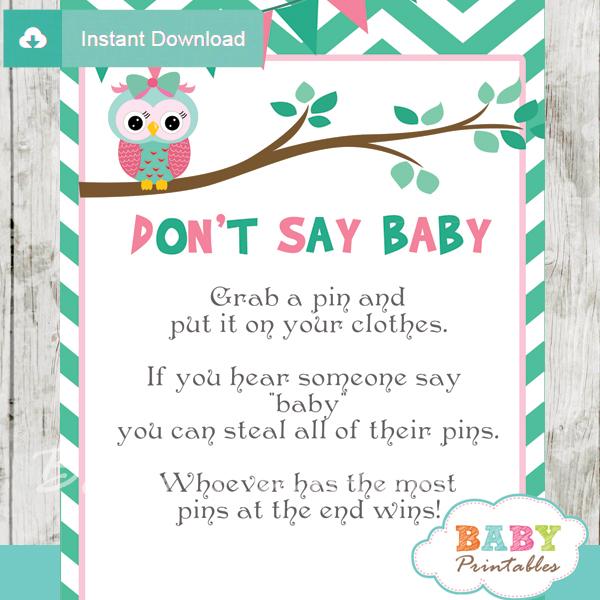 Printable owl Dont Say Baby Game pdf