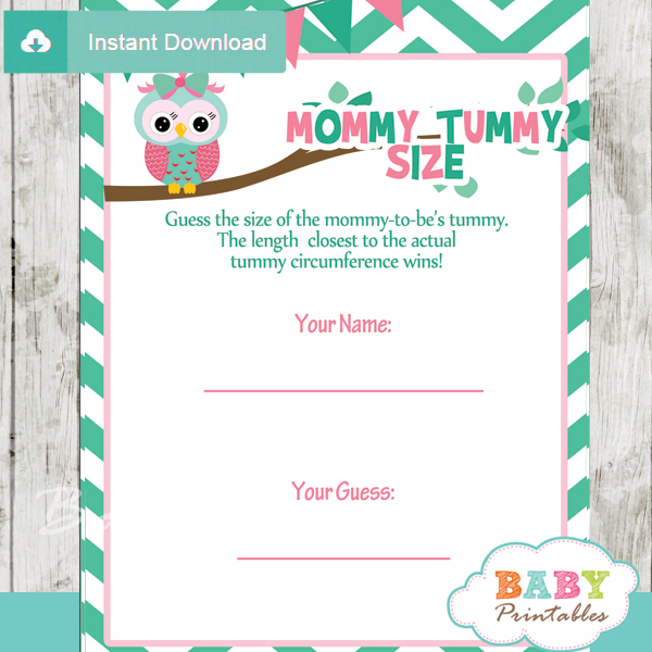 printable owl Baby Shower Game Guess the Mommy's Tummy Size