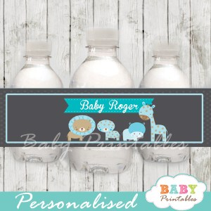 blue jungle animals personalized printable Water Bottle Labels
