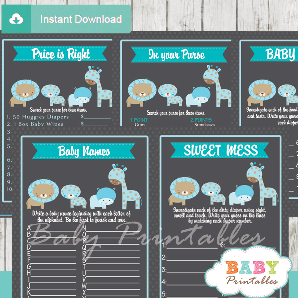 baby boy blue printable jungle animals baby shower fun games ideas