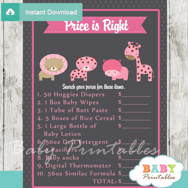 jungle safari Price is Right Baby Shower Game printable pdf