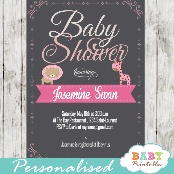 personalized baby girl pink jungle safari chalkboard baby shower invitation printable