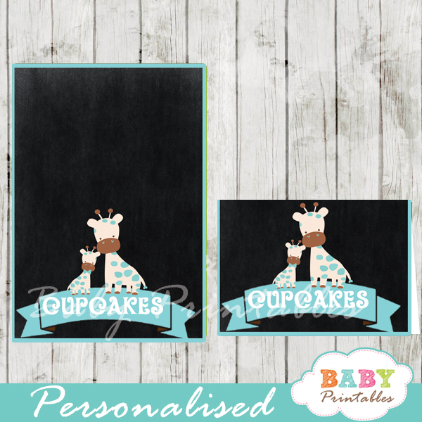 chalkboard blue giraffe printable food label cards for baby shower