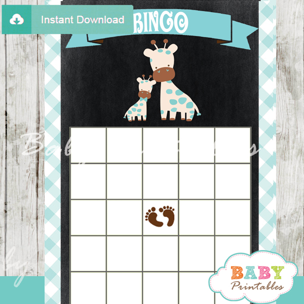 printable safari giraffe baby shower bingo games cards