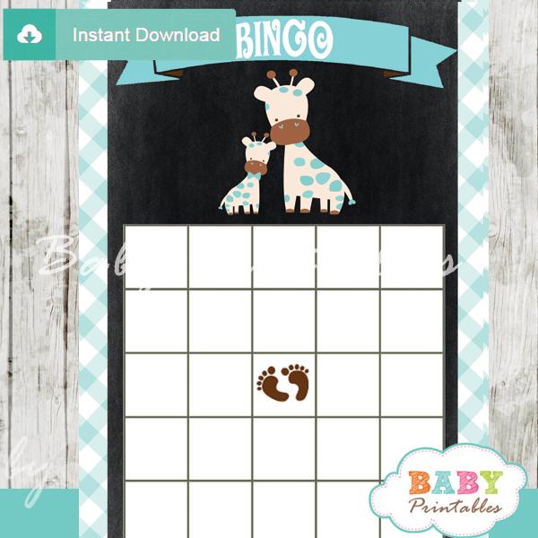 printable safari giraffe baby shower bingo games cards