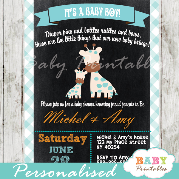 personalized baby boy blue giraffe chalkboard baby shower invitation printable