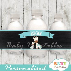 blue jungle giraffe personalized printable Water Bottle Labels