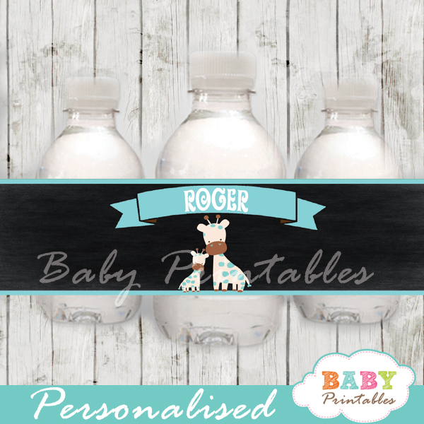 blue jungle giraffe personalized printable Water Bottle Labels