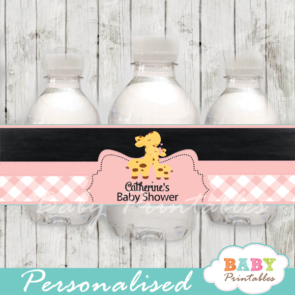 pink jungle giraffe personalized printable Water Bottle Labels