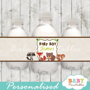 personalized woodland friends baby shower bottle wrappers