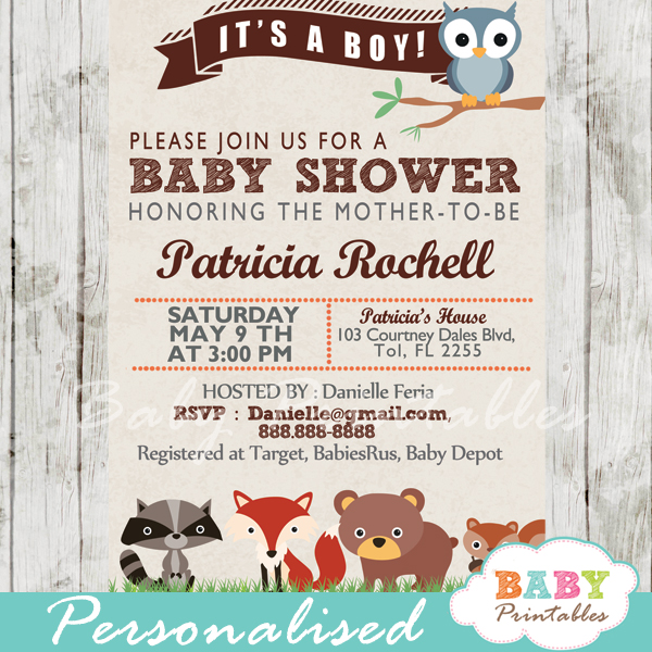 Personalized Forest Animals Baby Shower Invitation Printable