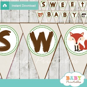 sweet baby printable woodland themed baby shower banner