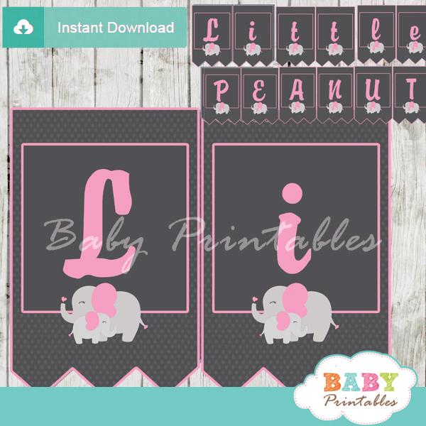 little peanut girl printable elephant baby shower banner