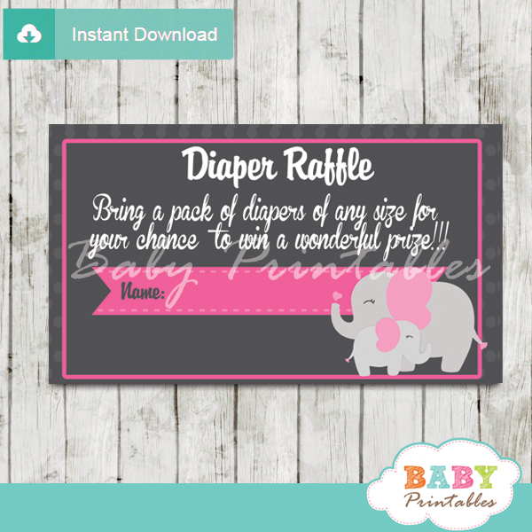 girl printable pink elephant diaper raffle tickets
