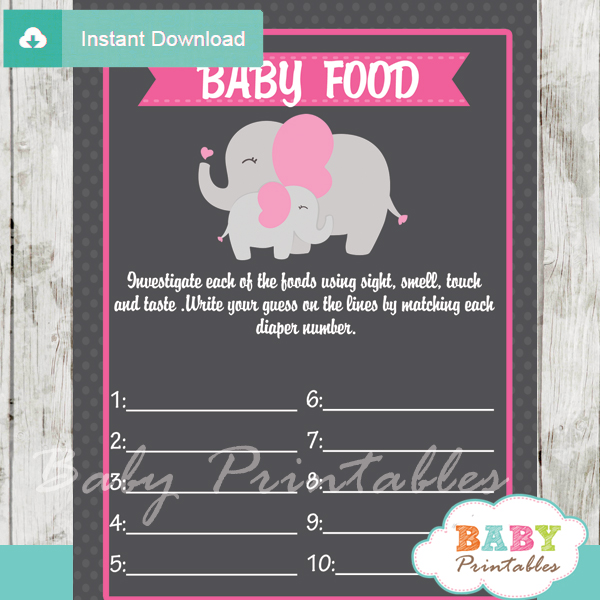 pink elephant printable girl baby shower games blind tasting baby food