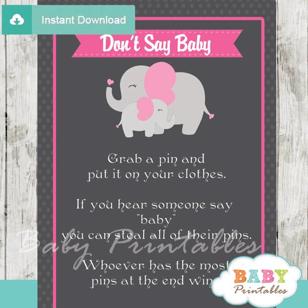 printable pink elephant theme Dont Say Baby Game pdf