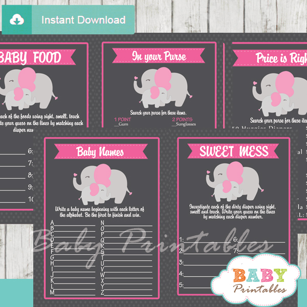 printable elephant girl baby shower fun games ideas