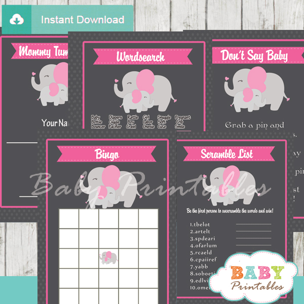 printable elephant girl baby shower games package