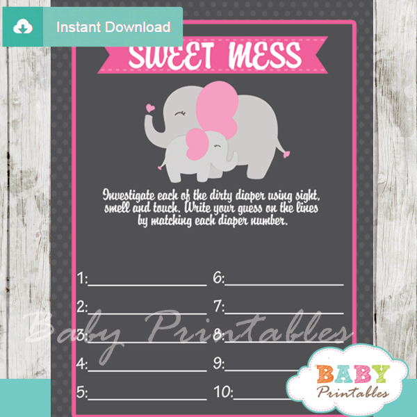 girl elephant themed Baby Shower Game What's That Sweet Mess Dirty Diaper Shower Game
