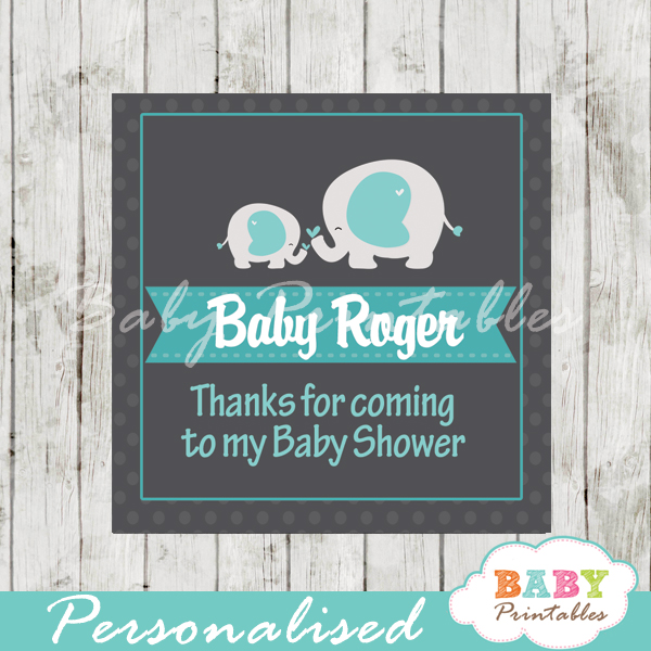 boy printable custom blue elephant baby shower gift labels