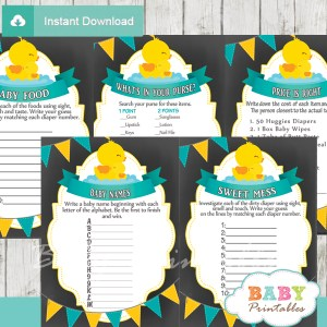 baby boy printable yellow rubber duck baby shower fun games ideas