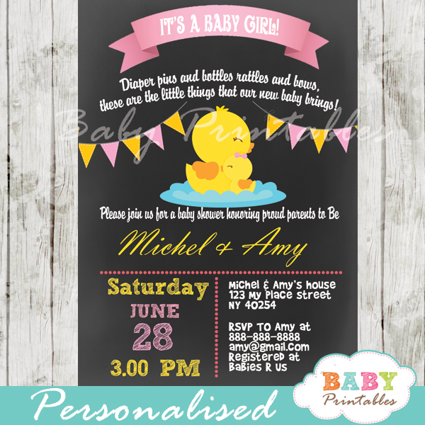 Chalkboard Rubber Ducky Baby Shower Invitation D141