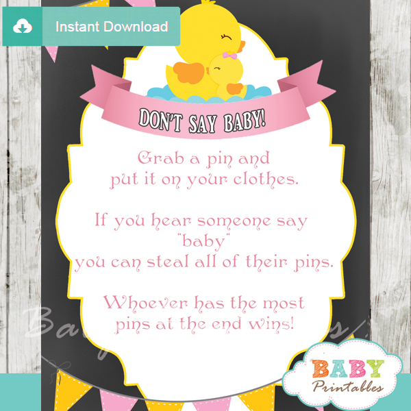 printable rubber ducky Dont Say Baby Game pdf