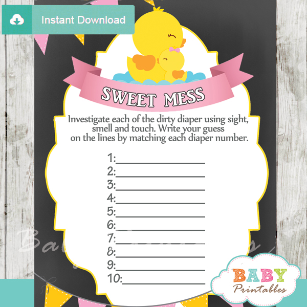 rubber duck Baby Shower Game What's That Sweet Mess Dirty Diaper Shower Game