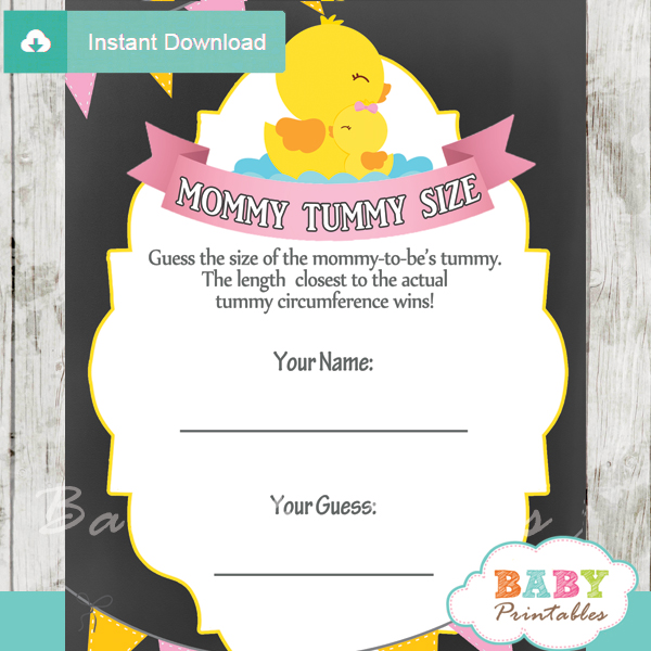 rubber ducky printable Baby Shower Game Guess the Mommy's Tummy Size