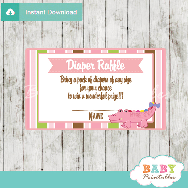 printable pink crocodile diaper raffle tickets baby shower