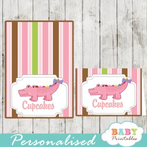 printable food labels pink crocodile baby shower gator girl