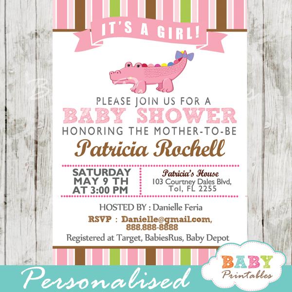 personalized gator pink crocodile girl baby shower invitation printable